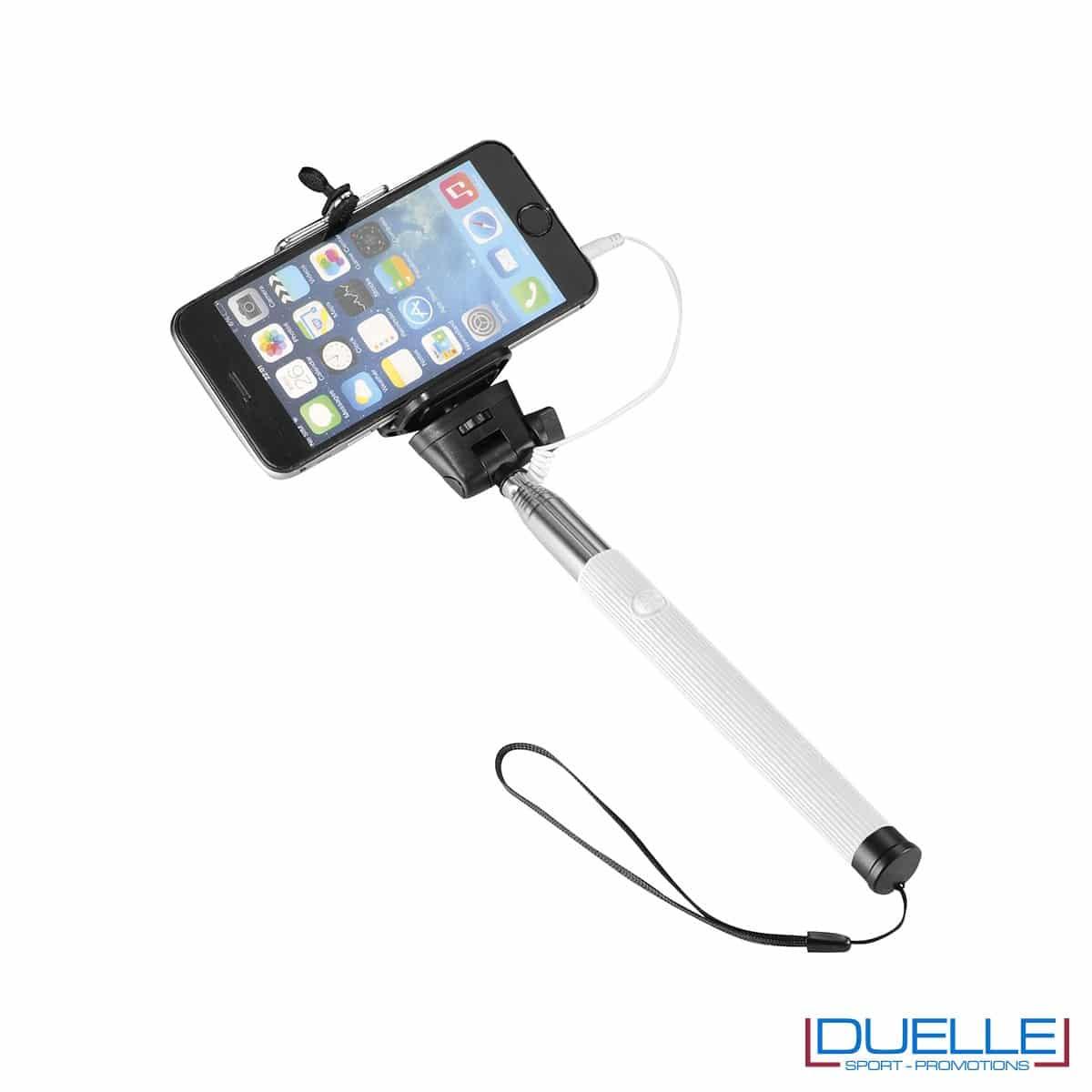 bastone per selfie personalizzato in colore bianco, articoli promozionali per smartphone personalizzati in colore bianco
