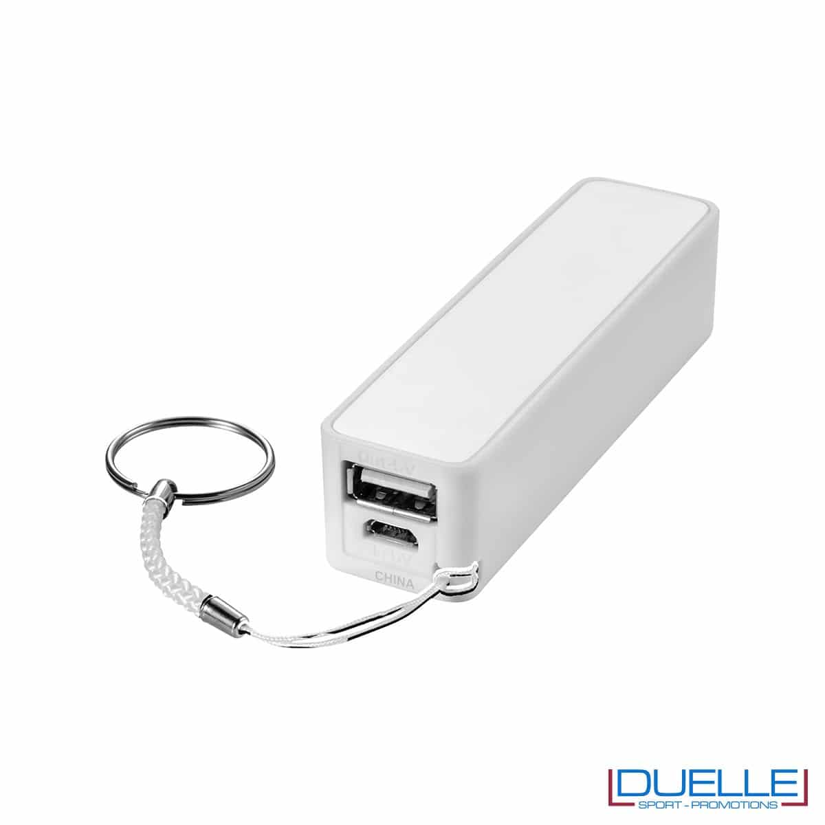 powerbank personalizzato 2000 mAh in colore bianco, powerbank per smartphone personalizzato