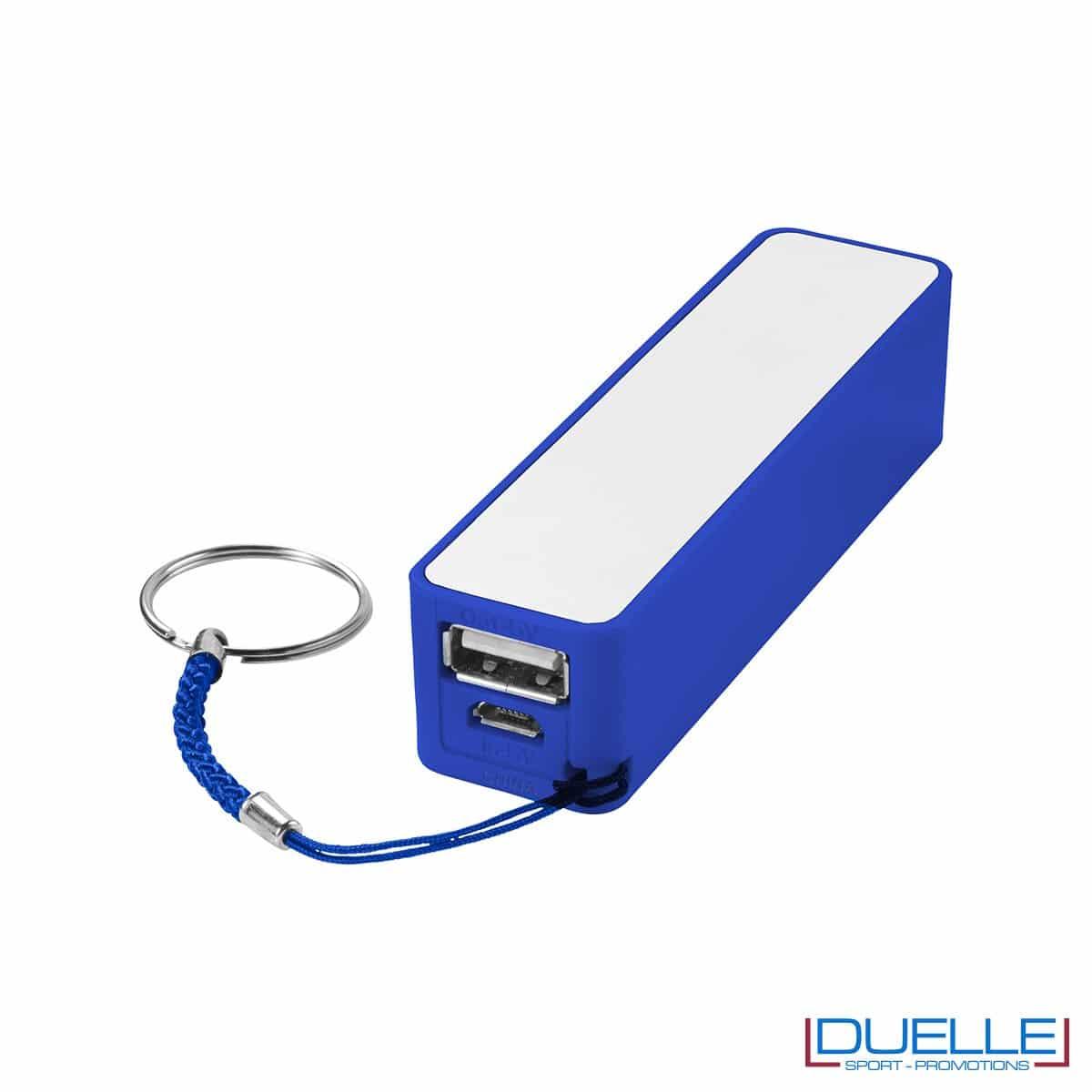 powerbank personalizzato 2000 mAh in colore azzurro, powerbank per smartphone personalizzato
