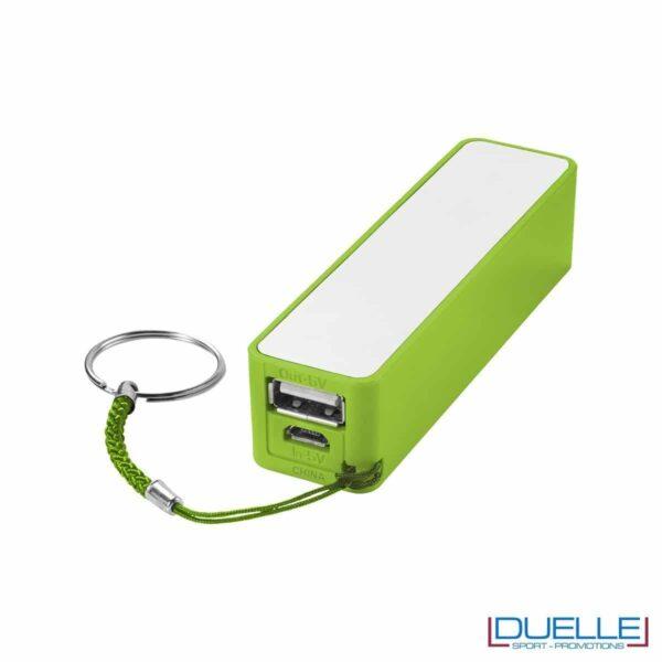 powerbank personalizzato 2000 mAh in colore verde, powerbank per smartphone personalizzato