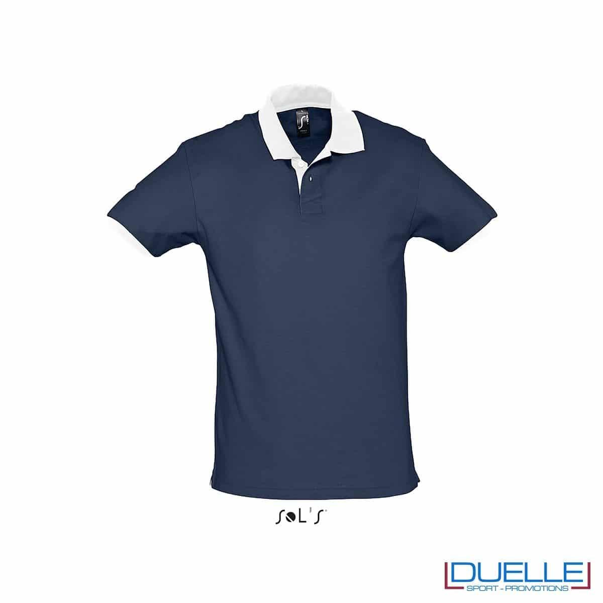 polo personalizzata color blu navy con finiture a contrasto, abbigliamento promozionale personalizzato