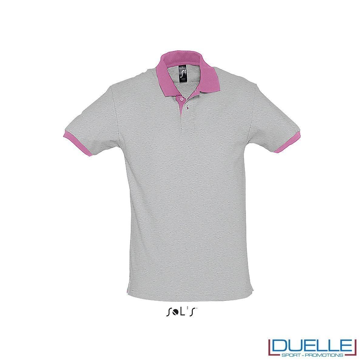 polo personalizzata color grigio con finiture a contrasto, abbigliamento promozionale personalizzato
