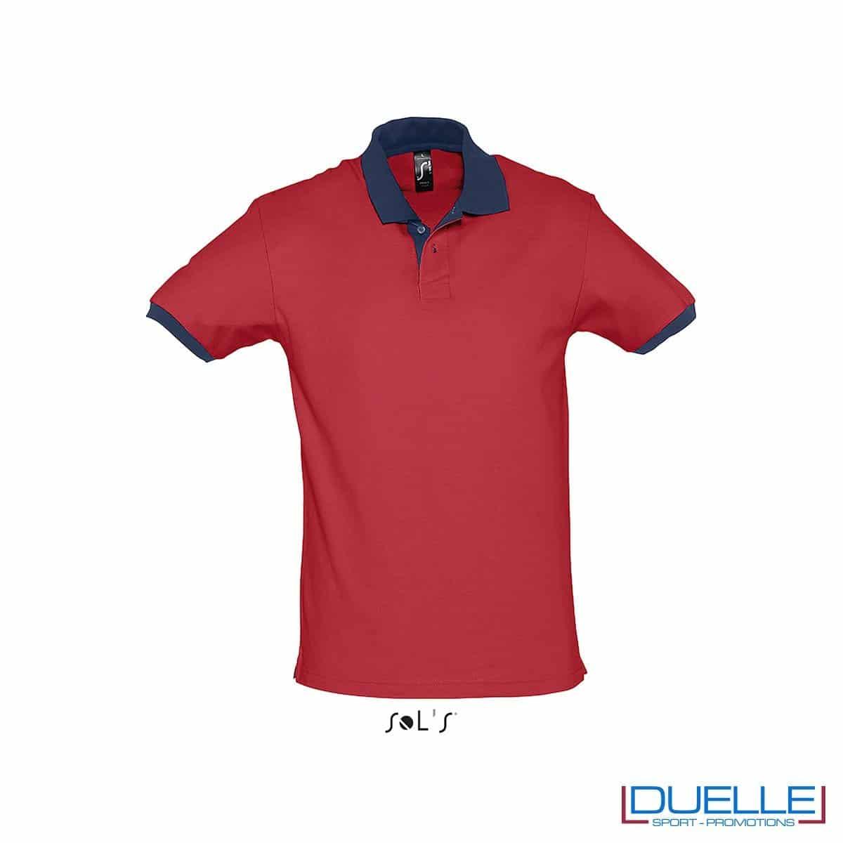 polo personalizzata color rosso con finiture a contrasto, abbigliamento promozionale personalizzato
