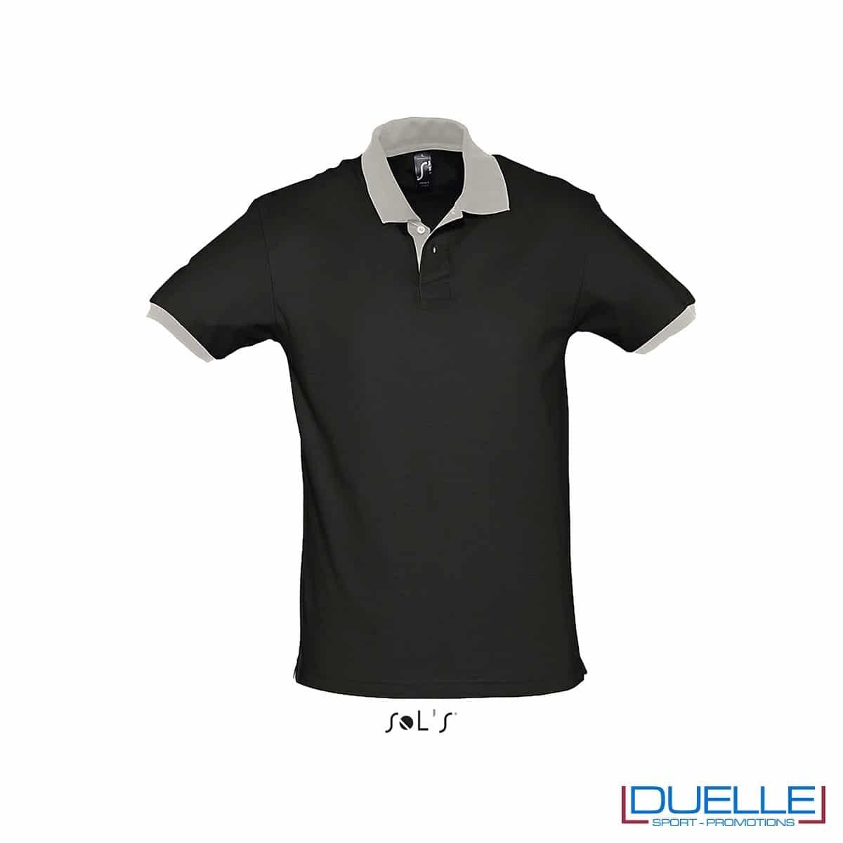 polo personalizzata color nero con finiture a contrasto, abbigliamento promozionale personalizzato