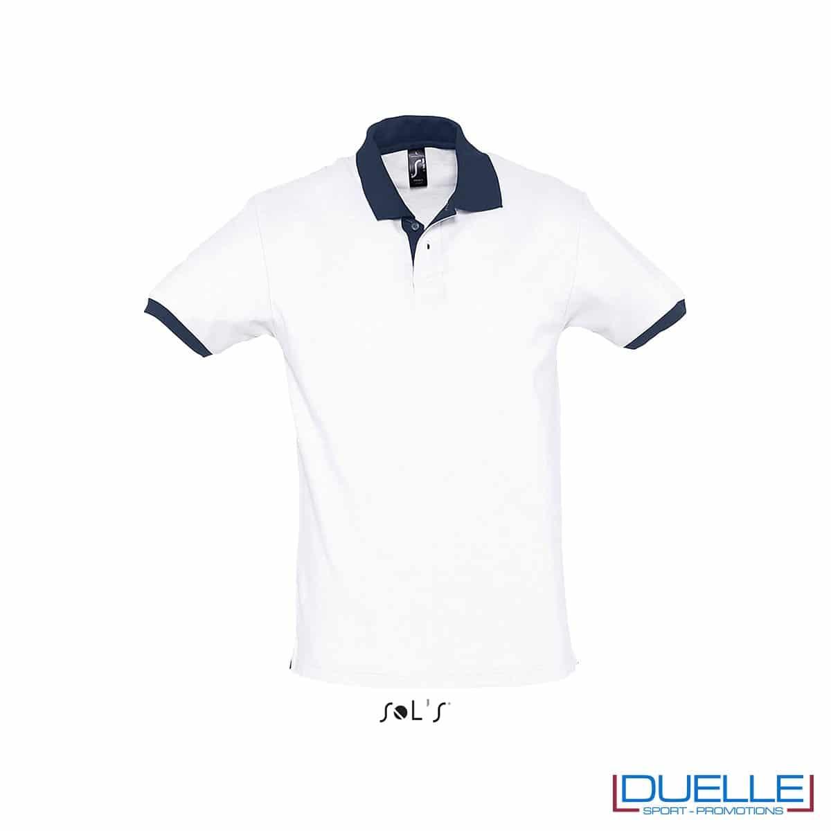 polo personalizzata color bianco con finiture a contrasto, abbigliamento promozionale personalizzato