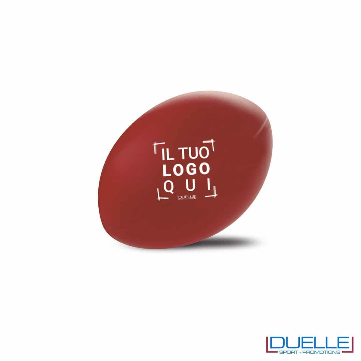 antistress personalizzato a forma di pallone da rugby rosso, gadget sportivi personalizzati