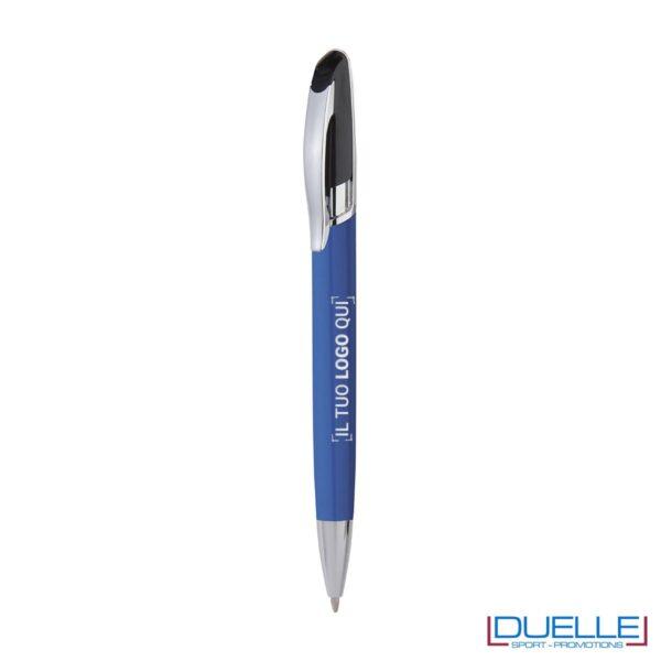Penna personalizzata a sfera clip in metallo colore azzurro