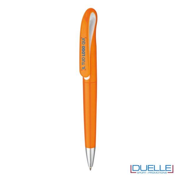 penna personalizzata arancione con apertura a rotazione, penne promozionali personalizzate arancioni con apertura a rotazione