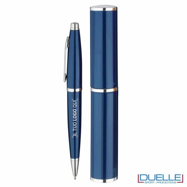 penna personalizzata in alluminio colore blu confezionata in cilindro regalo