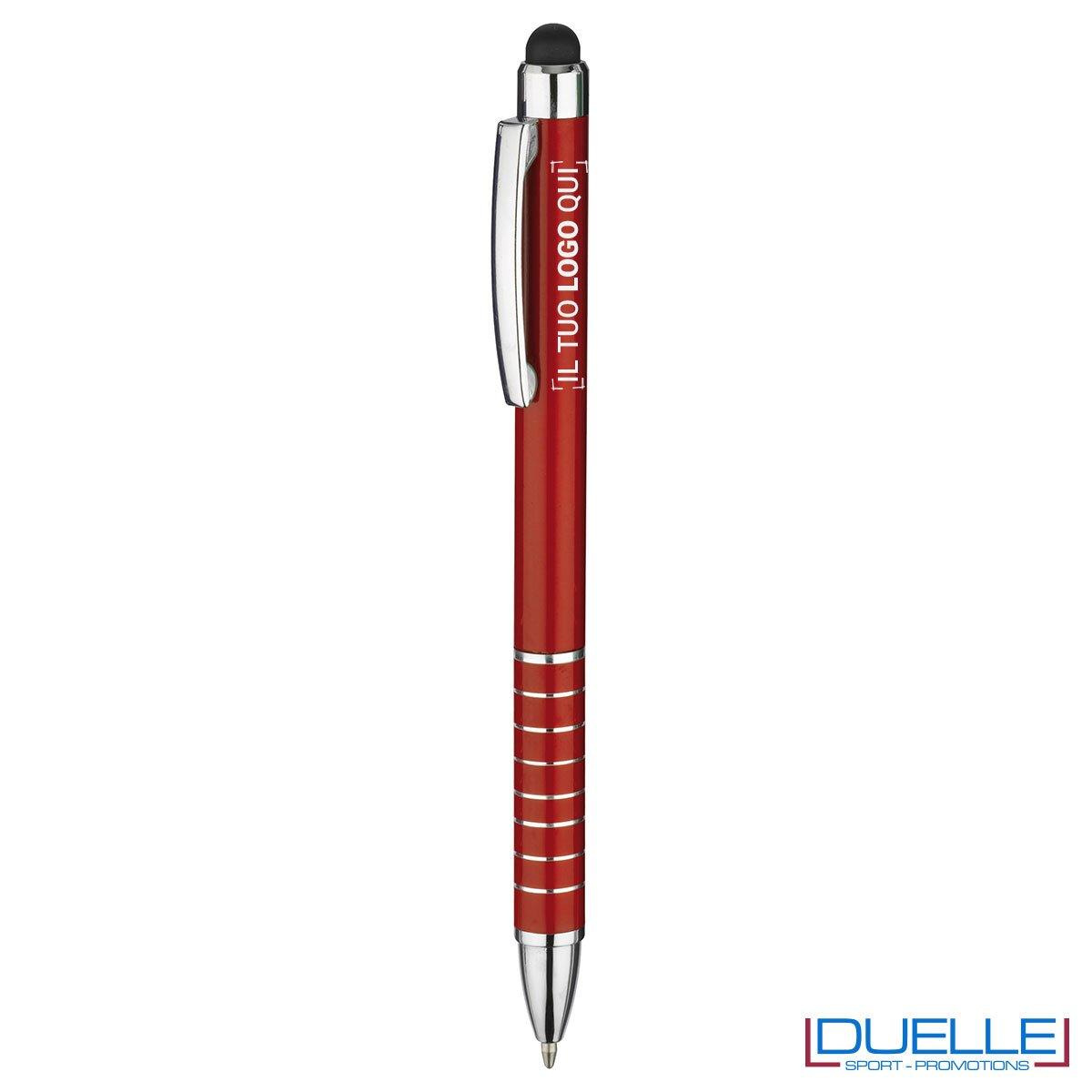 penna touch screen personalizzata in alluminio laccato rosso, gadget aziendali personalizzati