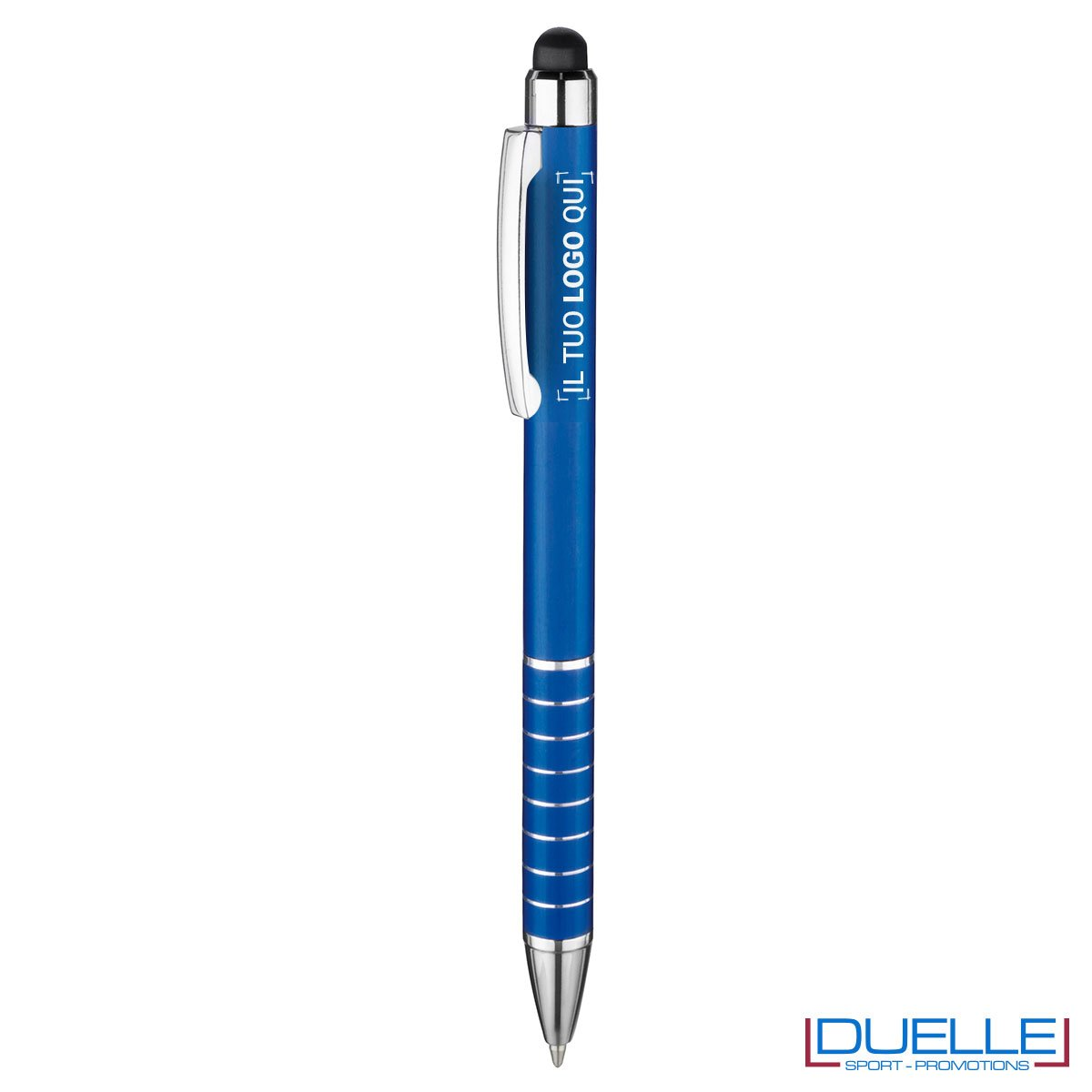 penna touch screen personalizzata in alluminio anodizzato blu, gadget aziendali personalizzati