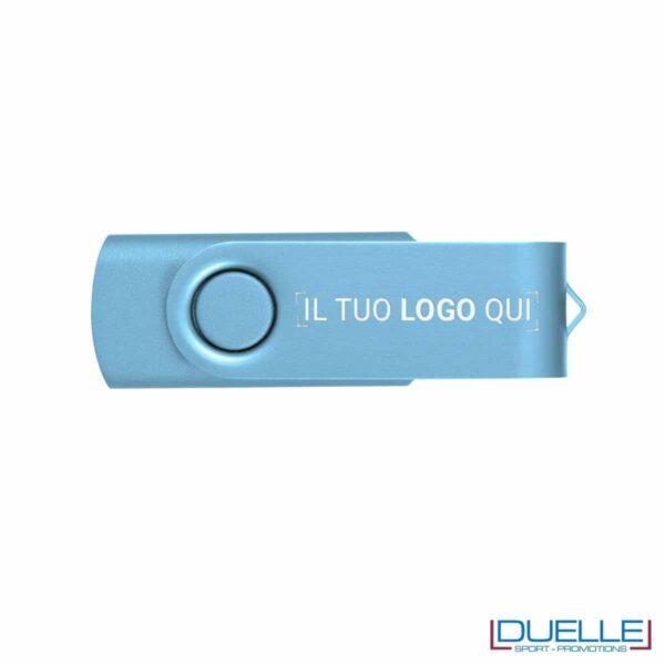 chiavetta USB personalizzata in colore azzurro con scocca in alluminio anodizzato, memoria USB personalizzata