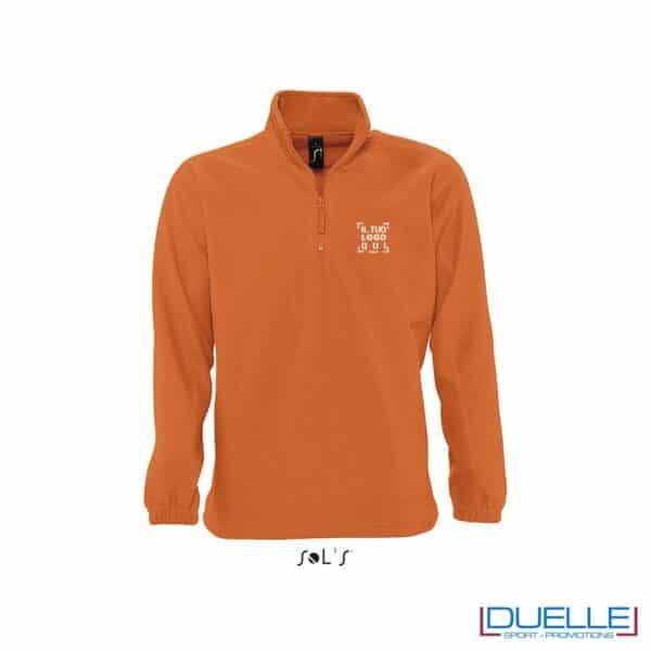 Pile unisex personalizzato mezza zip colore arancione