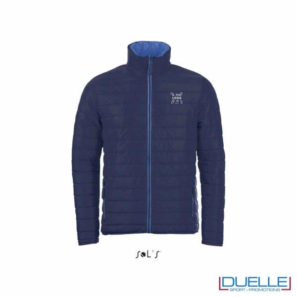 piumino personalizzato in colore blu navy, abbigliamento promozionale personalizzato
