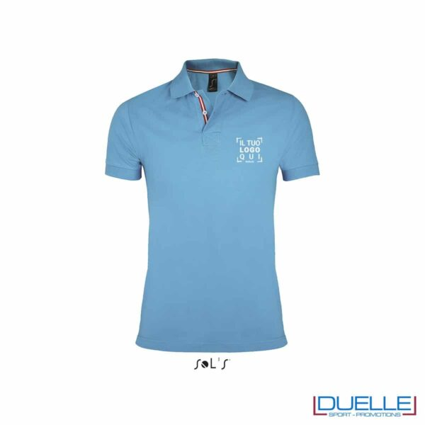 polo personalizzata azzurra con colletto a contrasto, polo personalizzate
