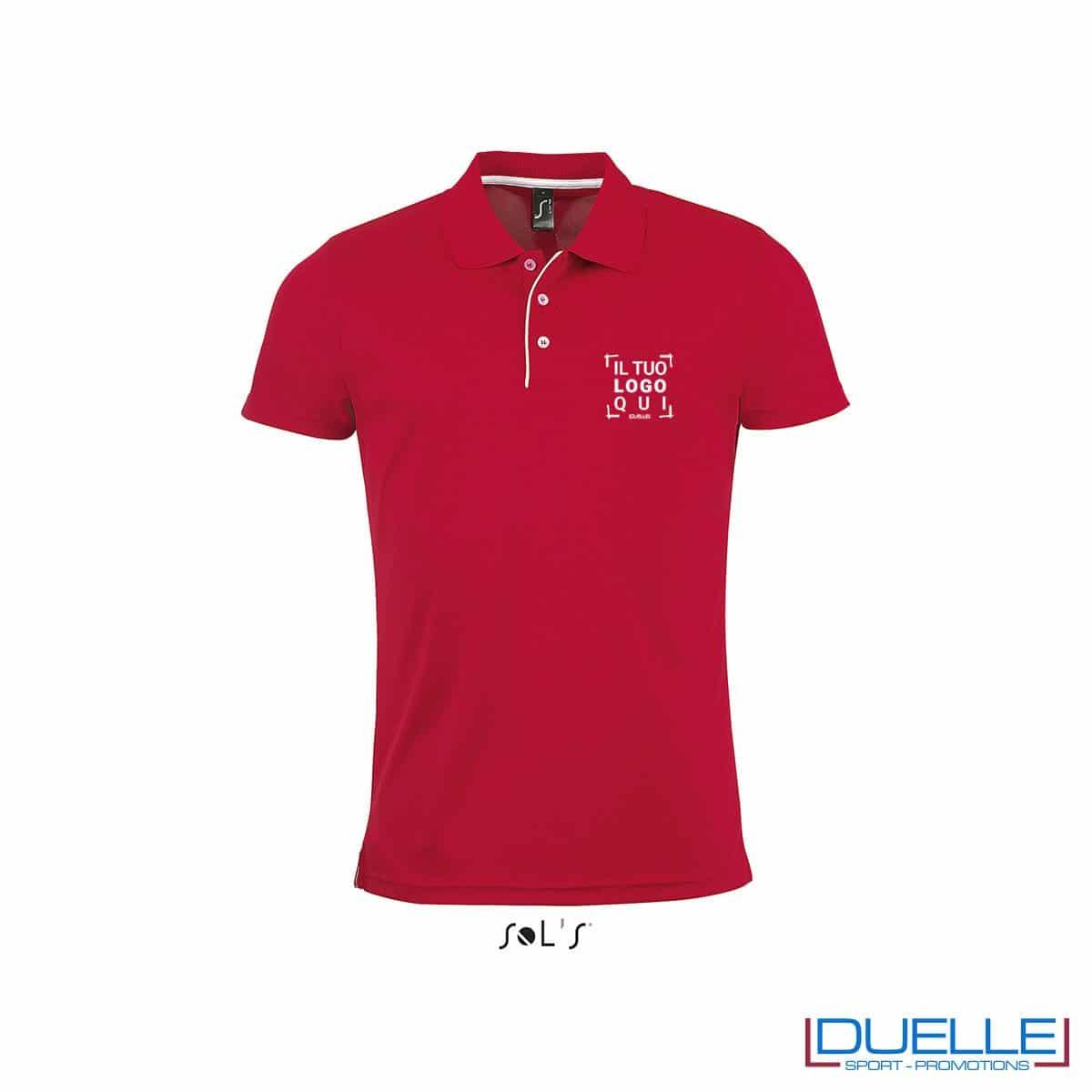 polo personalizzata sportiva in poliestere traspirante colore rosso, polo personalizzata, abbigliamento sportivo personalizzato