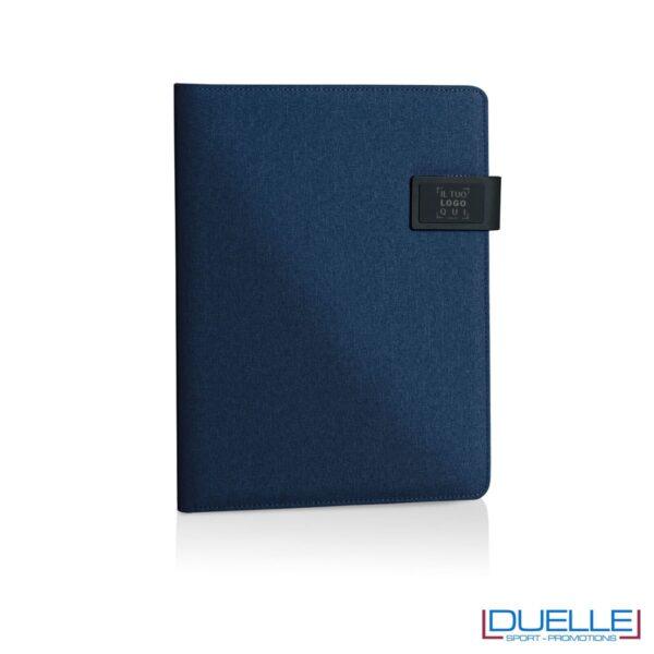 Porta blocco in tessuto personalizzato blu navy