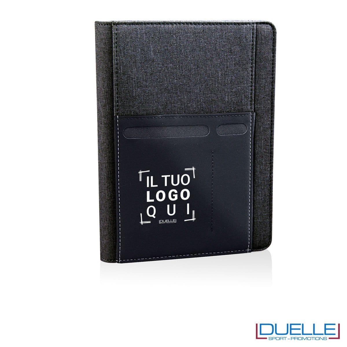 Porta documenti personalizzabile con tasca elasticizzata nero
