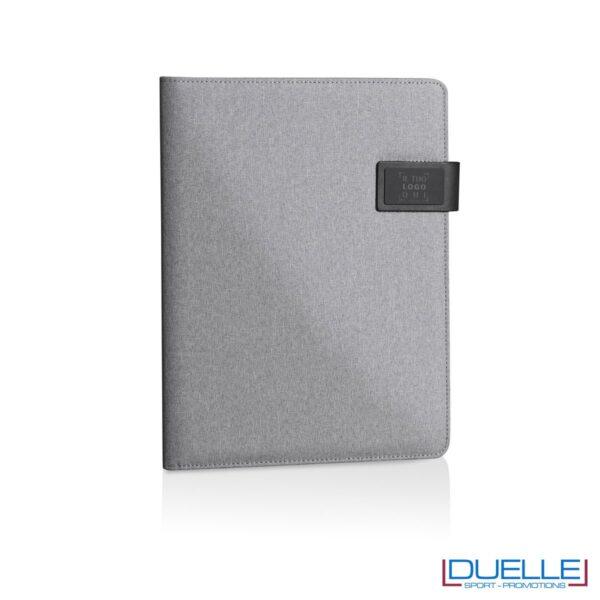 Porta documenti personalizzabile con multi tasche interne grigio