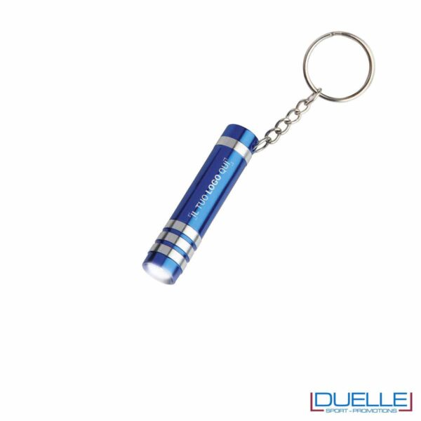 Portachiavi con mini torcia colore blu personalizzato