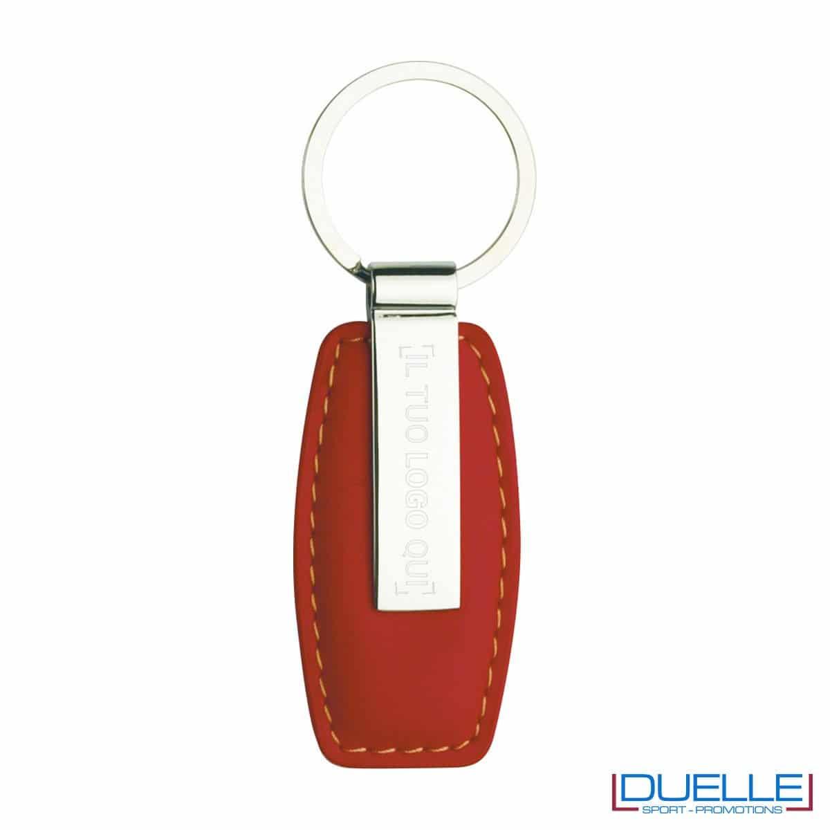 Portachiavi in metallo personalizzato con incisione laser colore rosso