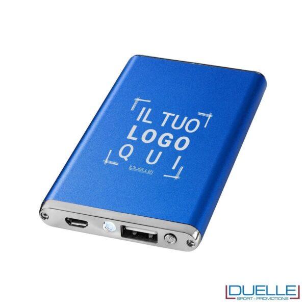power bank personalizzato in alluminio anodizzato colore blu, power bank promozionali blu e batterie portatili personalizzate
