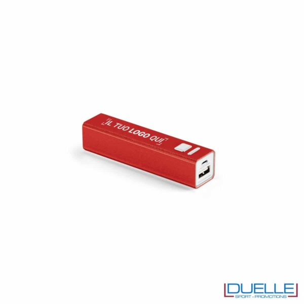 power bank personalizzato in alluminio rosso con interruttore on-off, power bank personalizzati con incisione laser