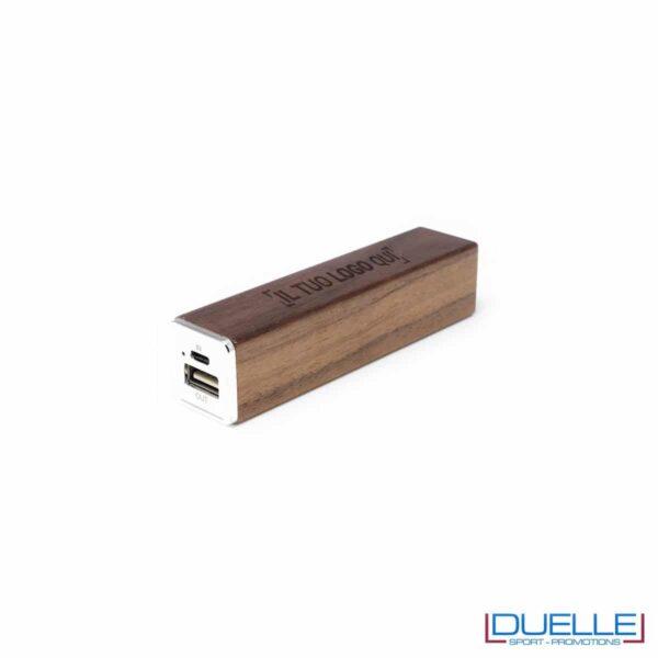 Power bank personalizzato in legno scuro