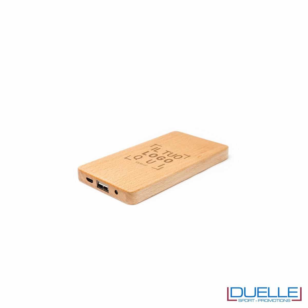 power bank in legno chiaro personalizzato