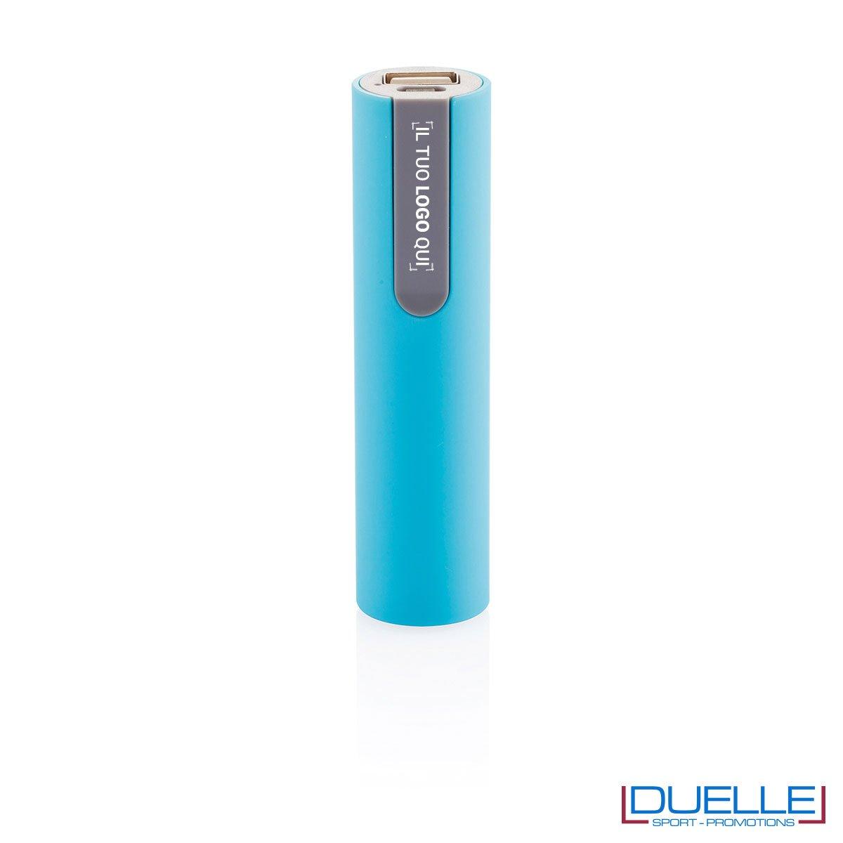 power bank personalizzato soft touch azzurro