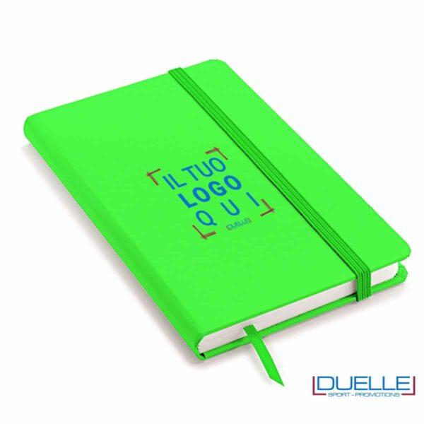 Quaderno appunti personalizzabile tipo moleskine A6 verde fluo