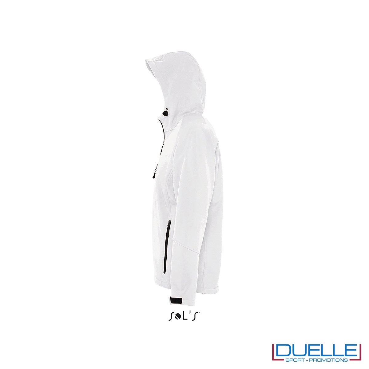 foto laterale di giacca softshell personalizzata in colore bianco, foto laterale di giubbotti softshell personalizzati