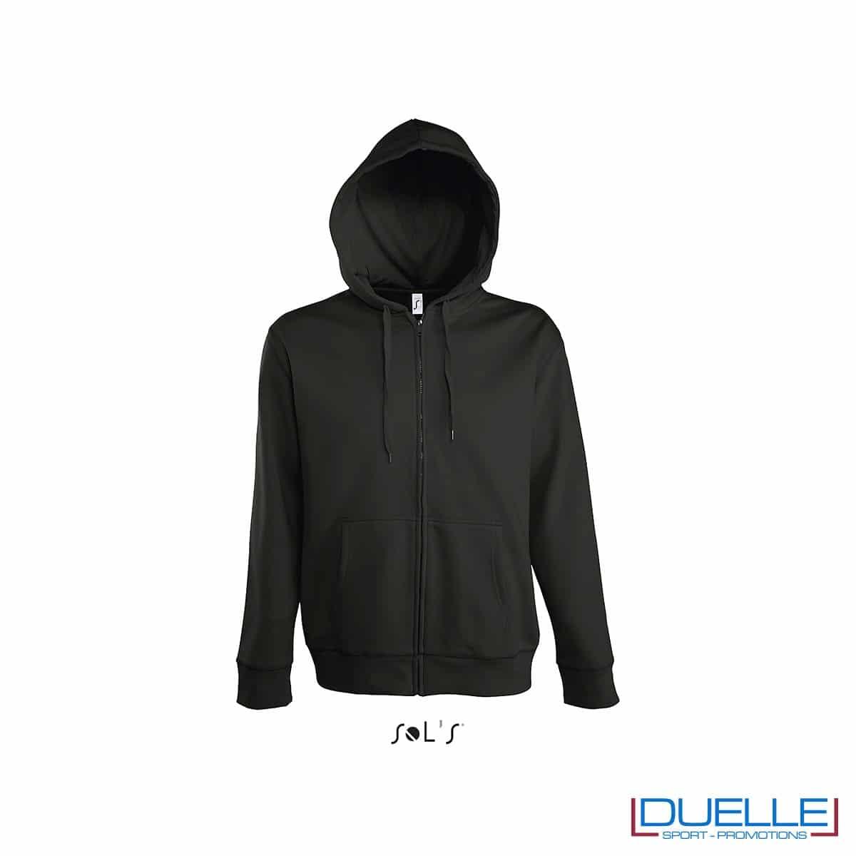 felpa personalizzata con cappuccio e zip completa colore nero, felpa personalizzata