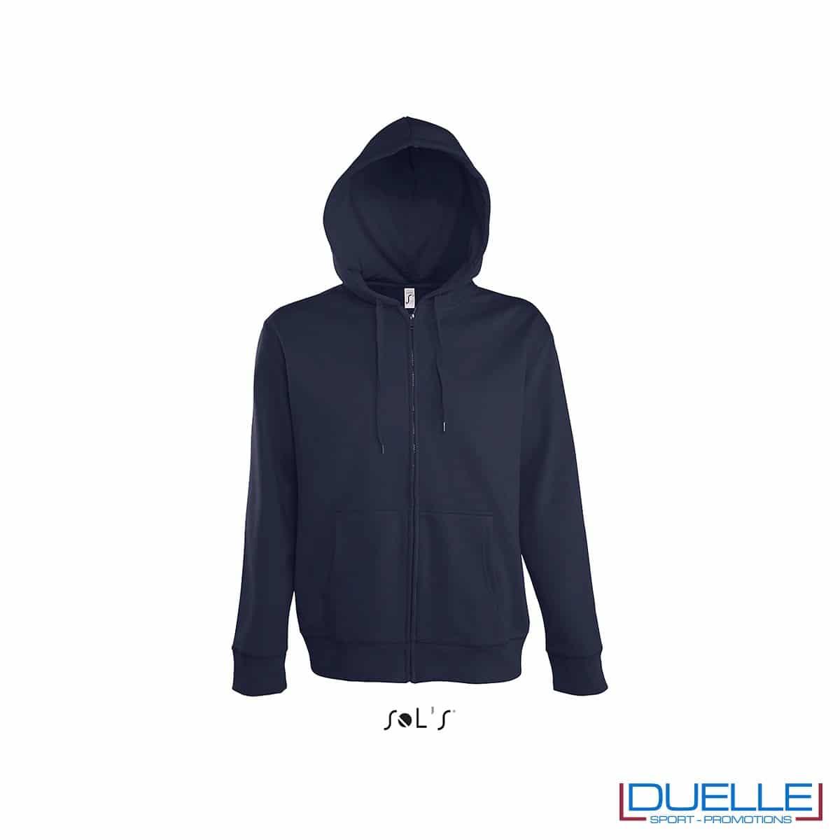 felpa personalizzata con cappuccio e zip completa colore blu navy, felpa personalizzata