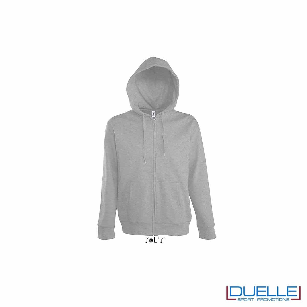 felpa personalizzata con cappuccio e zip completa colore grigio melange, felpa personalizzata