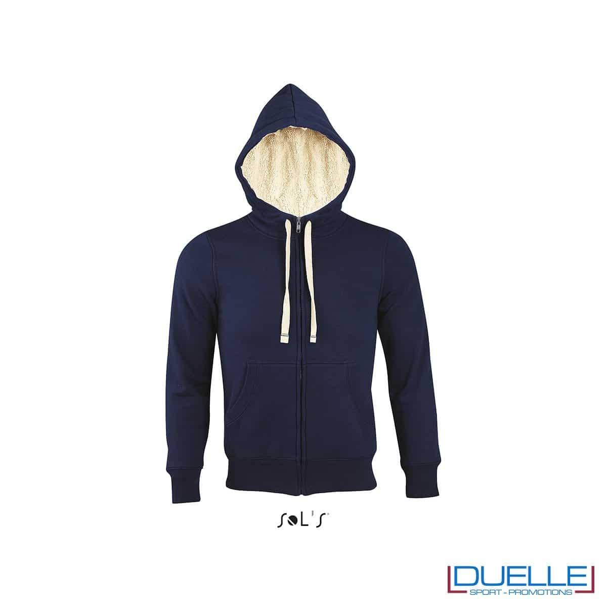 felpa personalizzata con cappuccio e pelo sherpa in colore blu navy, felpe personalizzate