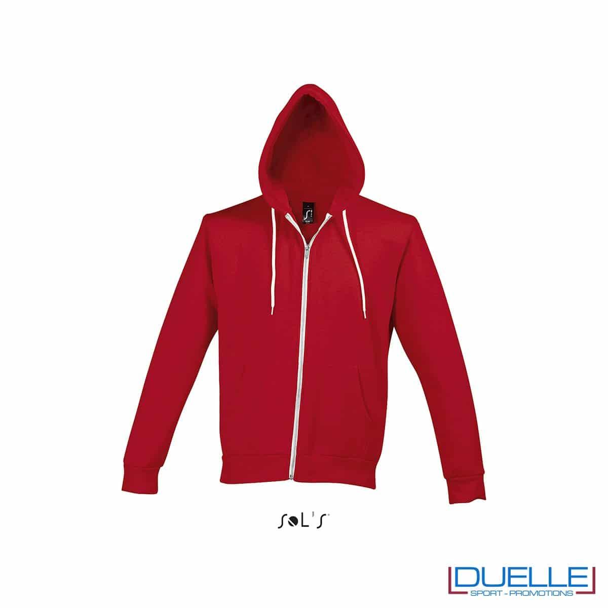felpa personalizzata con cappuccio full zip e particolari a contrasto colore rosso, felpa personalizzata, abbigliamento promozionale personalizzato