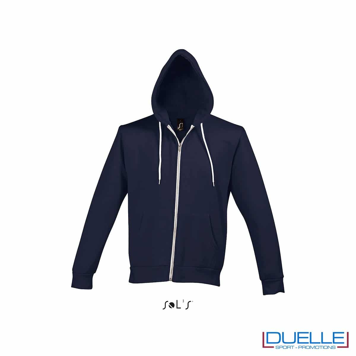 felpa personalizzata con cappuccio full zip e particolari a contrasto colore blu navy, felpa personalizzata, abbigliamento promozionale personalizzato