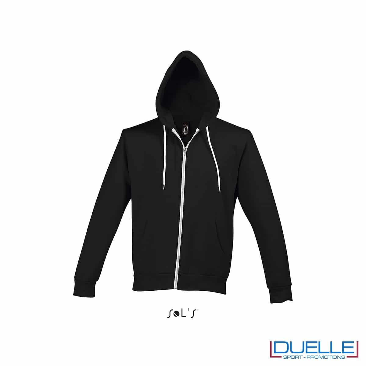 felpa personalizzata con cappuccio full zip e particolari a contrasto colore nero, felpa personalizzata, abbigliamento promozionale personalizzato
