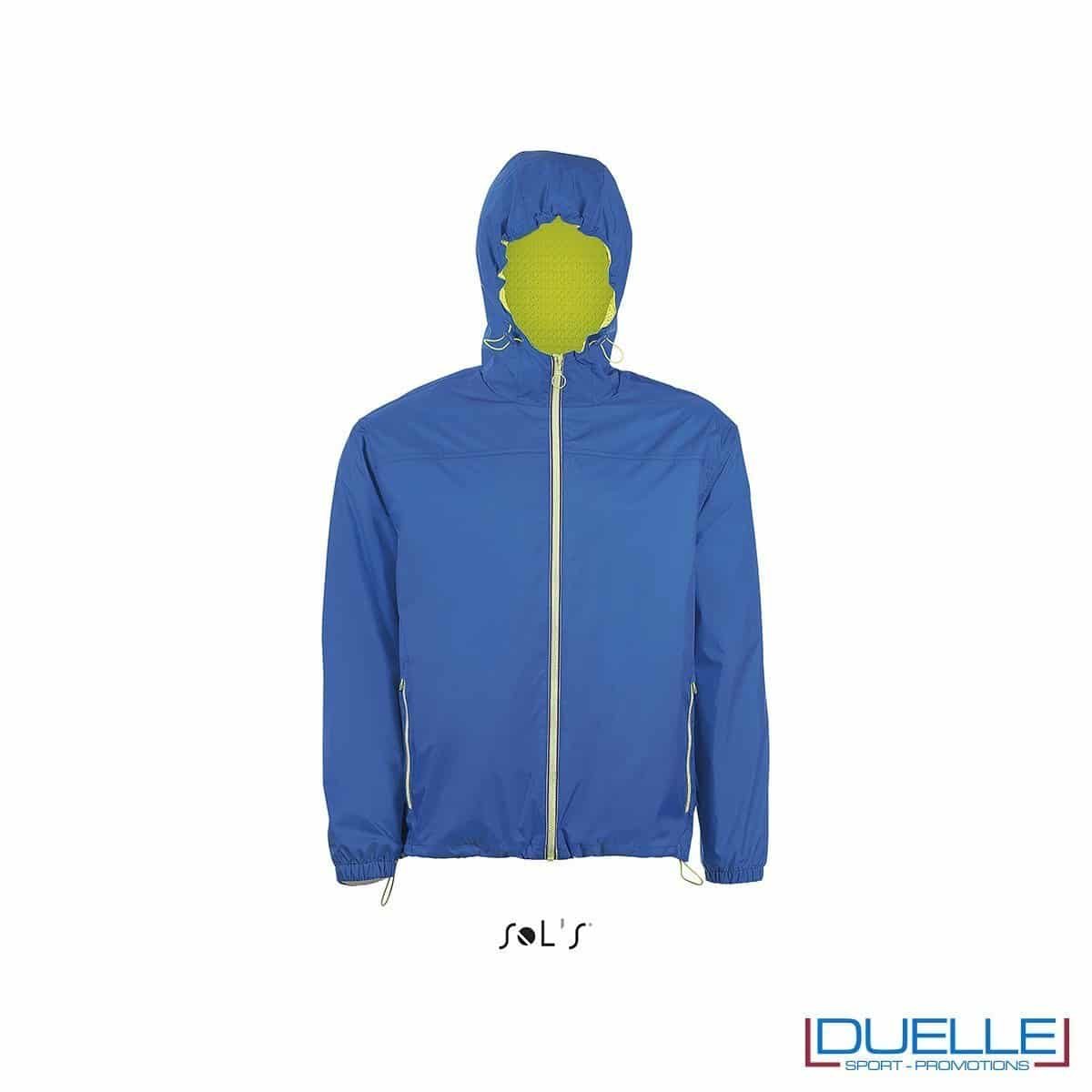 giacca antivento personalizzata colore blu royal con retina interna, kappa way personalizzati, k-way personalizzati