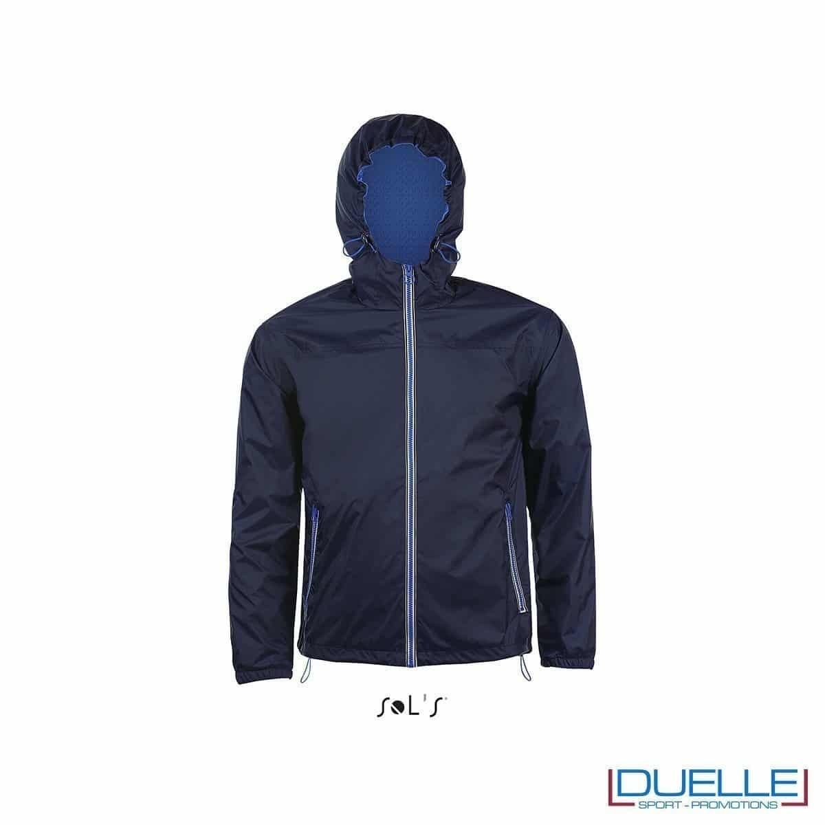 giacca antivento personalizzata colore blu navy con retina interna, kappa way personalizzati, k-way personalizzati