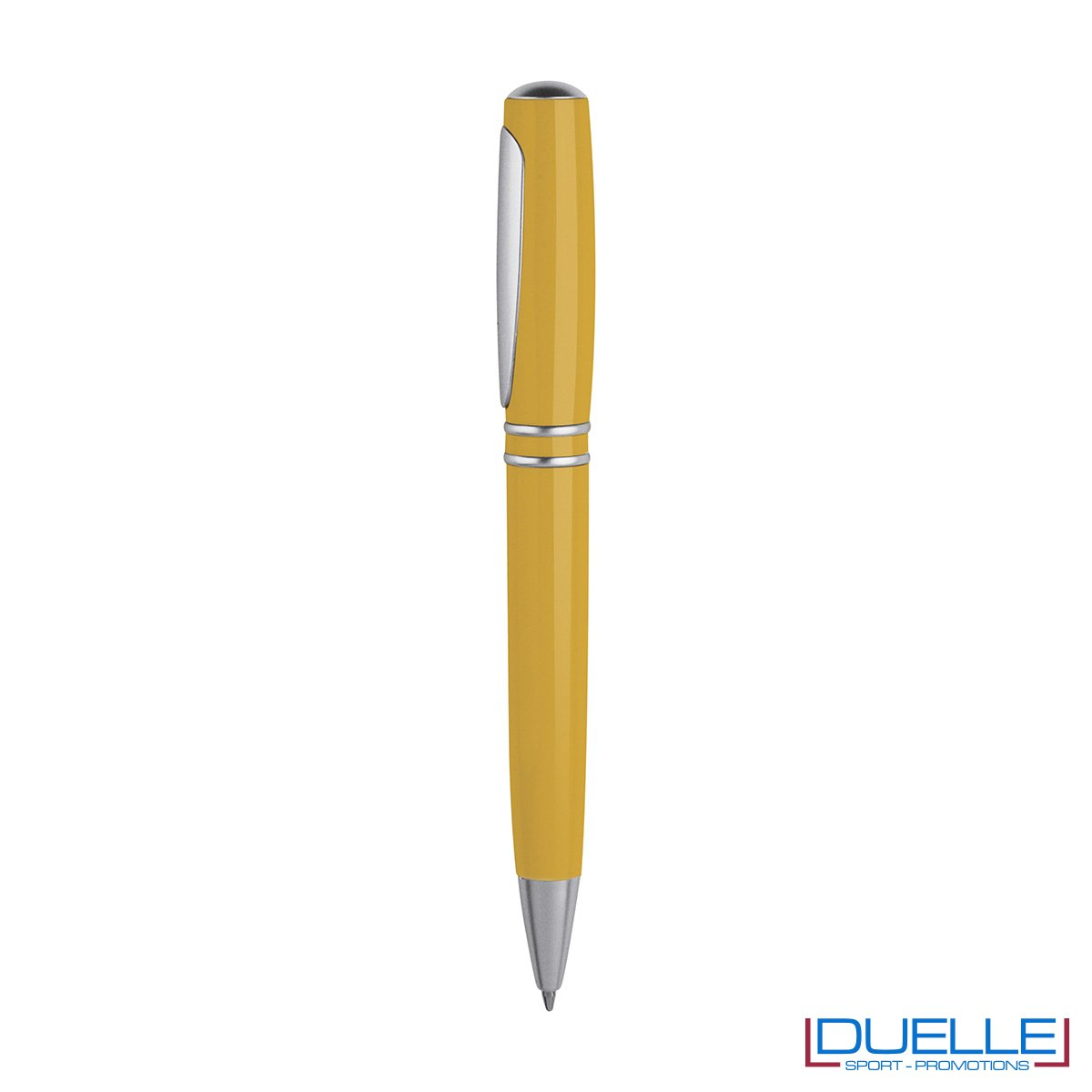 Penna a sfera in plastica con meccanismo di chiusura a rotazione che permette di far entrare ed uscire vicendevolmente la clip o la punta a sfera.