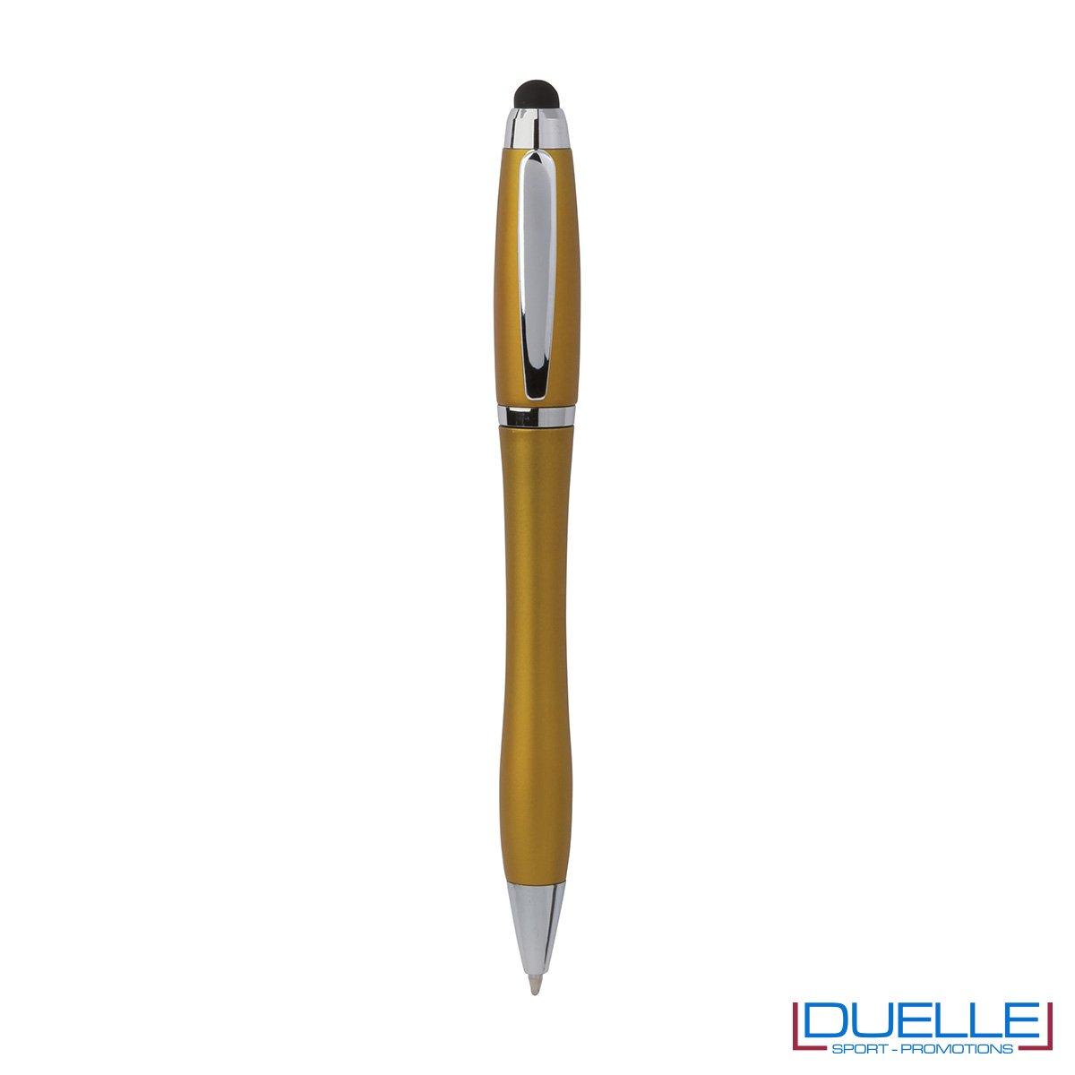 Penna touch screen a sfera in plastica con clip e puntale in metallo
