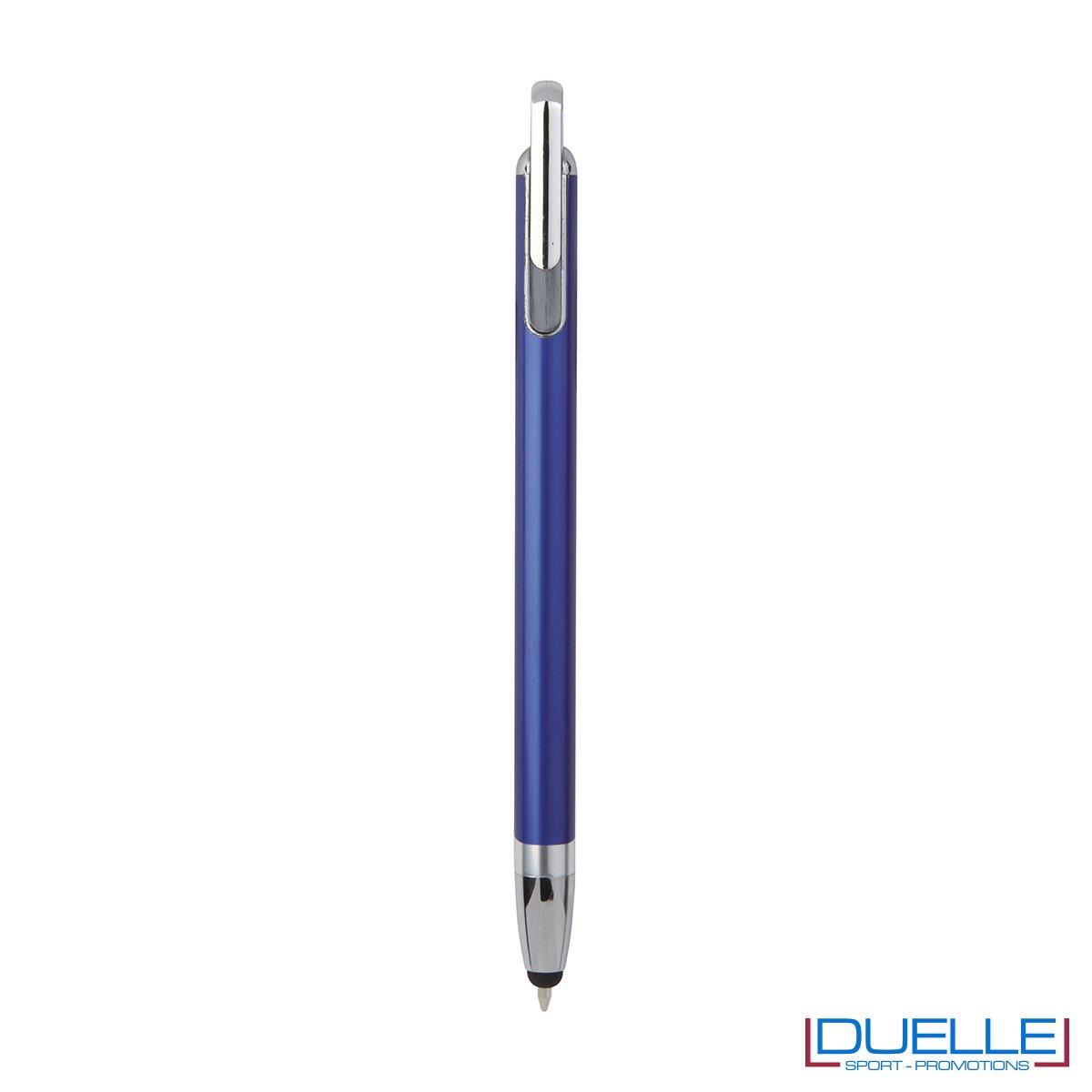 Penna touch screen con fusto interamente in metallo e puntale in plastica colore blu