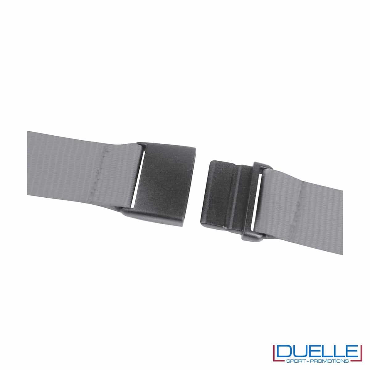 gancio portacellulare da collo con cerniera e foro per cuffie in colore grigio personalizzato, gadget estate, gadget personalizzati