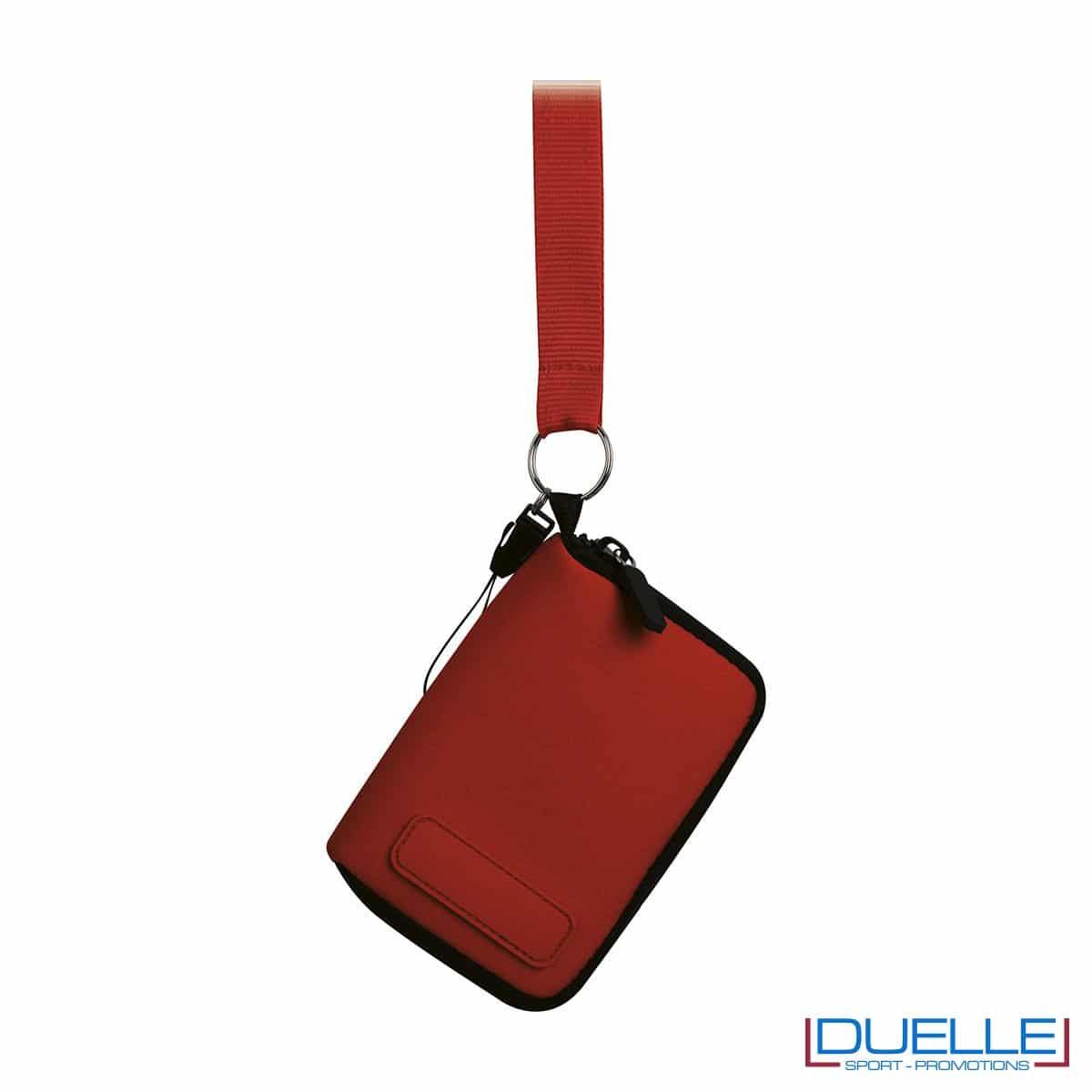 portacellulare da collo con cerniera e foro per cuffie in colore rosso personalizzato, gadget estate, gadget personalizzati