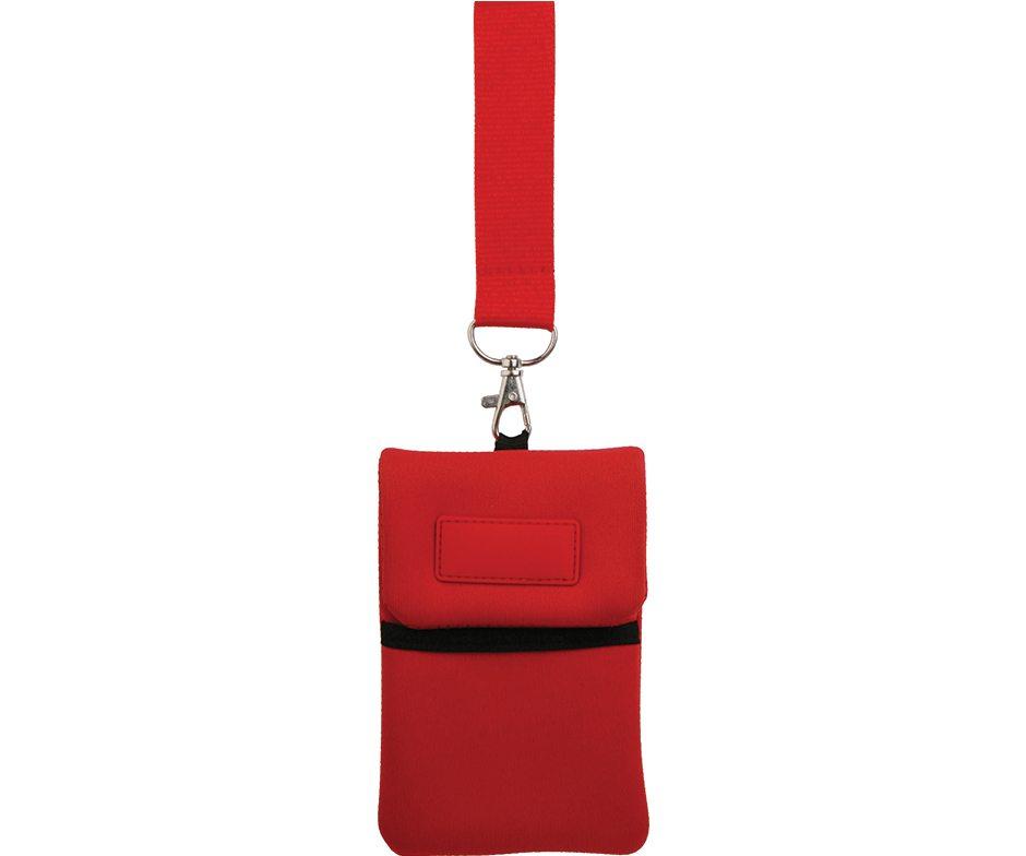 Portacellulare personalizzato da collo in colore ROSSO, gadget estivi personalizzati, gadget personalizzati