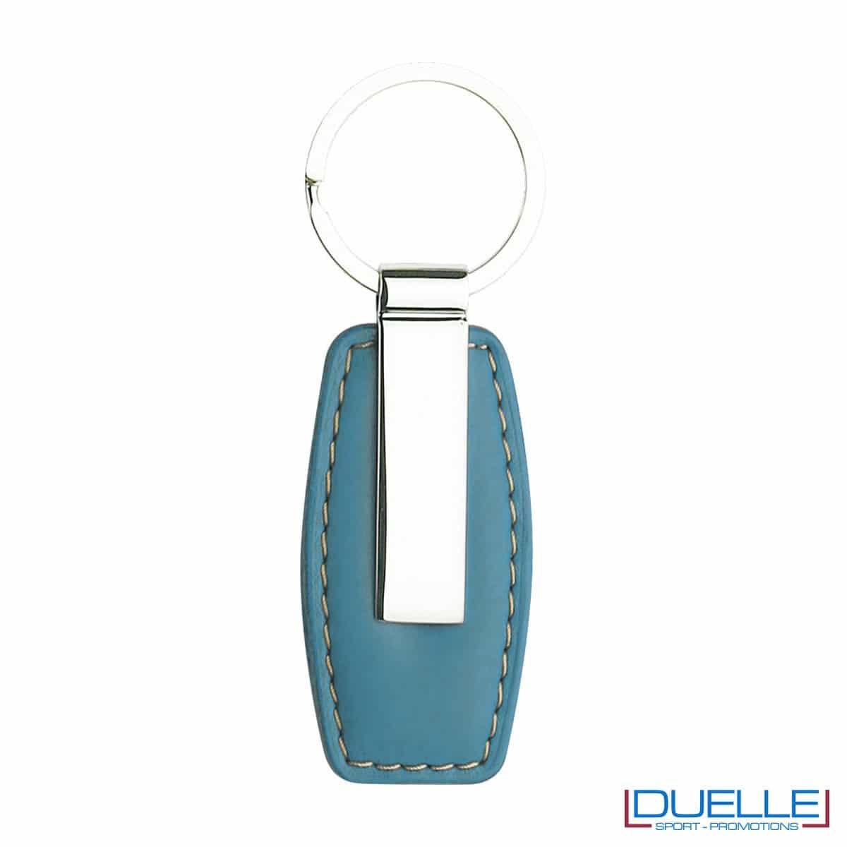 Portachiavi in metallo personalizzato con incisione laser colore blu