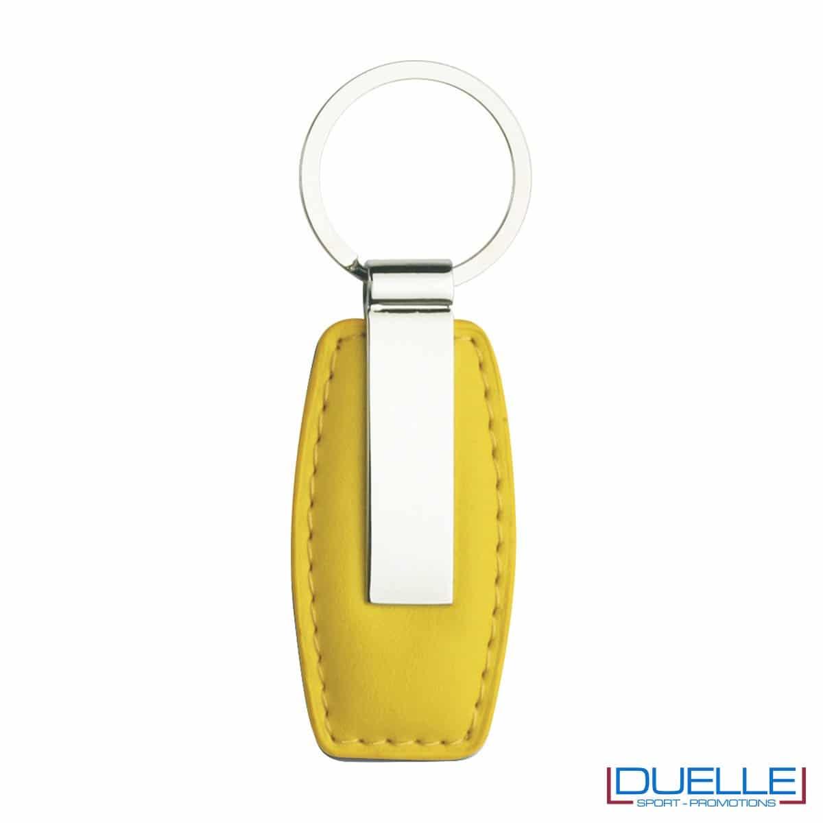 Portachiavi in metallo personalizzato con incisione laser colore giallo