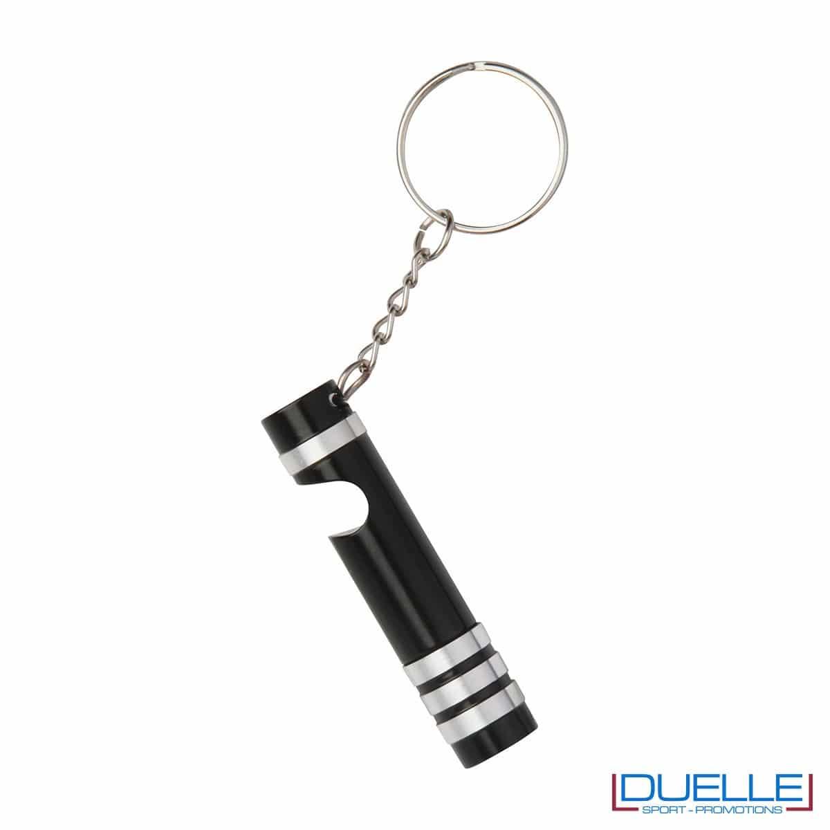 Portachiavi con mini torcia colore nero personalizzato